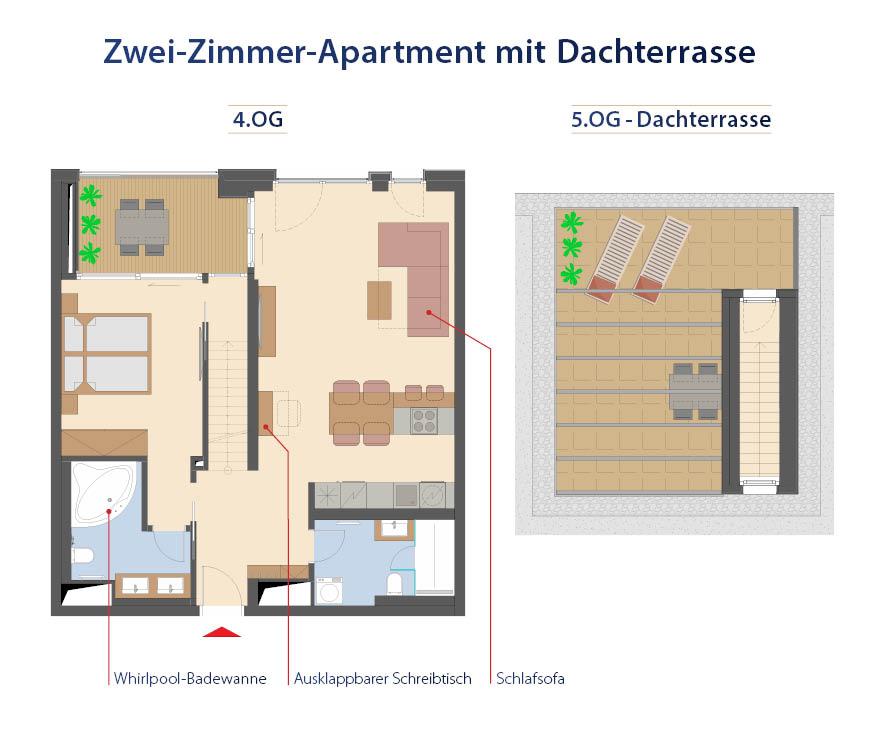 Plan d'étage d'un appartement de 2 pièces avec terrasse sur le toit