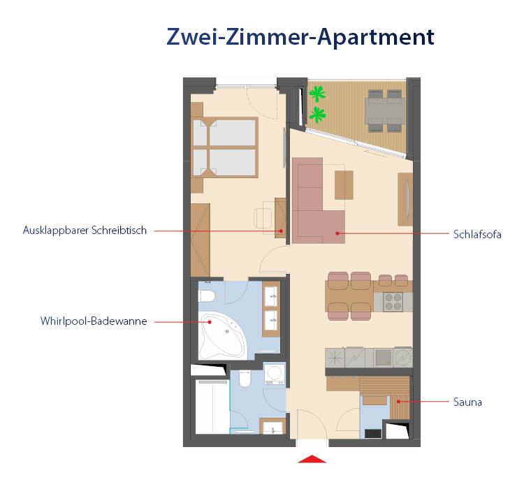 Plan d'étage d'un appartement de 2 pièces