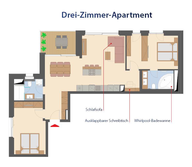 Plan d'étage d'un appartement de 3 pièces