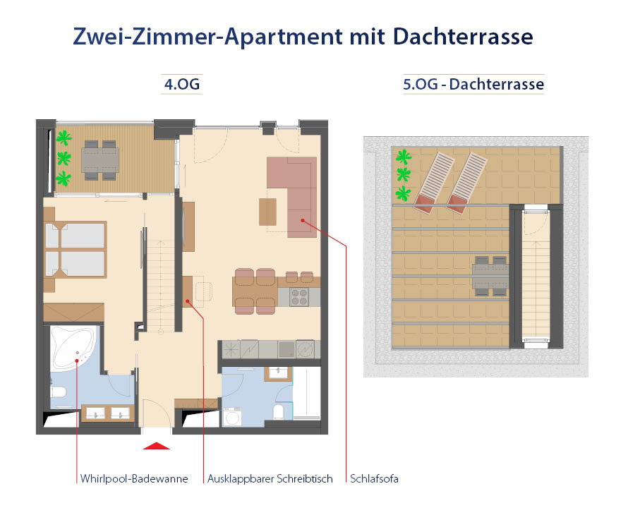 Grundriss 2-Zimmer Apartment mit Dachterrasse
